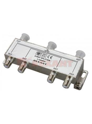 Делитель телевизионный ТВх6 под F разъём 5-1000 МГц (5шт/уп) REXANT 05-6004