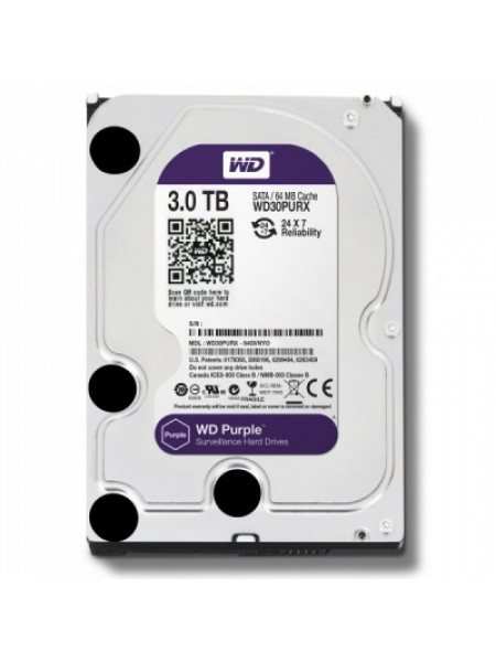 "Жесткий диск Western Digital Purple HDD 3 Tb SATA-III 3.5"" WD30PURZ"