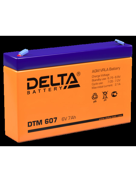 Аккумуляторная батарея<br /> Аккумулятор 6В 7 А∙ч (DTM 607)